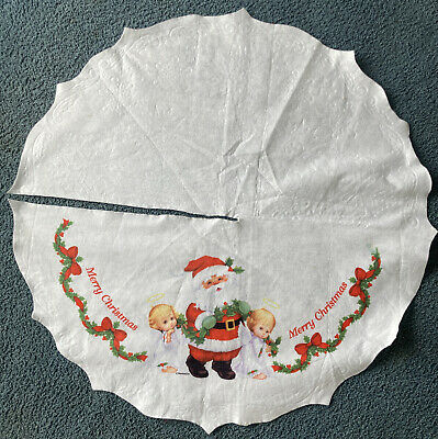 "Vtg Felt Christmas Tree Skirt RUTH MOREHEAD Santa with Angels 35"" Round, Scallop"