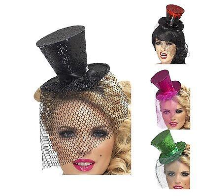 Halloween Accessories Mini Top Hat (NEW Mini Glitter Top Hat On Headband Ladies Halloween Fancy Dress)