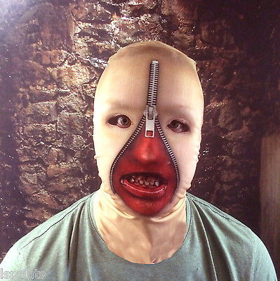 3D WOMEN ZIP FACE WITH TEETH EFFECT FACE SKIN LYCRA FABRIC FACE MASK HALLOWEEN