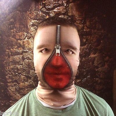 3D MAN ZIP BLOODY FACE EFFECT FACE SKIN LYCRA FABRIC FACE MASK HALLOWEEN