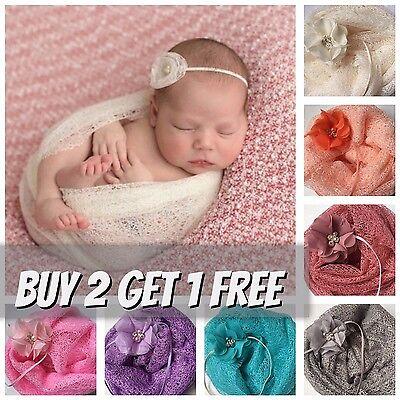 Mesh Gauze Cheesecloth Wraps and Flower Headband Newborn Photography Prop