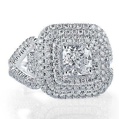 GIA Certified Halo Engagement Ring 2.27 Ct Cushion Cut Diamond 18k White Gold