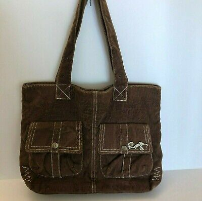 Roxy Corduroy Satchel Bag Handbag 2 Strap Purse Bag Brown Women's Corduroy Purse Bag