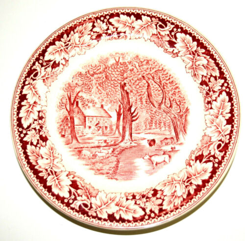 "4 Diner Plates CURRIER & IVES RED TRANSFER WARE ""Home Sweet Home"""