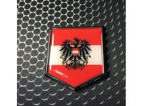 "AUSTRIA Oval Flag CHROME Emblem Proud Car OVAL Domed sticker 3D 3.25/""x 2.25/"""