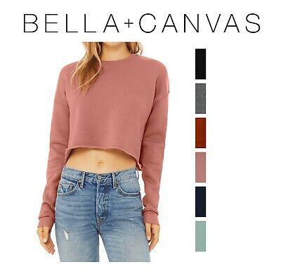 Ladies Fleece Crewneck Sweatshirt (Bella + Canvas Ladies' Cropped Fleece Crew Neck Sweatshirt S-2XL )
