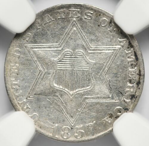 1857 3 Cent Silver Trime NGC XF Details
