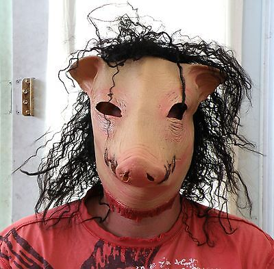 Pig Head Scary Saw With Full Hair Halloween Costume Mask * NEW *