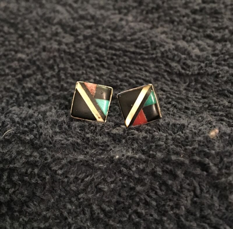 Sterling Silver ~1 gram Matching Set Earrings Black Red Blue Square Posts