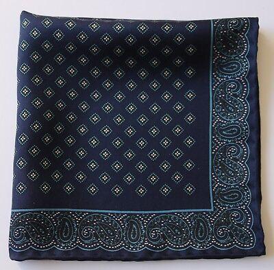 Blue Paisley Silk pocket square Handkerchief 33cm Hand rolled.
