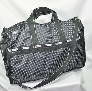 NEW LESPORTSAC LARGE WEEKENDER BAG 7185 HANDBAG TOTE TRAVEL  LUGGAGE MOD PIN DOT