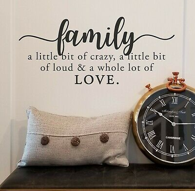 Home Decoration - FAMILY CRAZY LOUD LOVE Vinyl Wall Decal Quote Sticker Decor Words Lettering Sign
