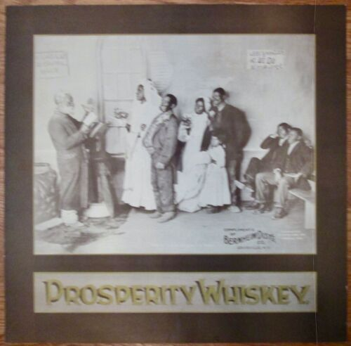 Prosperity Whiskey Wedding Lithograph cardboard sign 1897