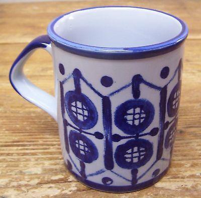 Scandia Circle Geometric Blue Coffee Mug Cup Hand Painted Japan