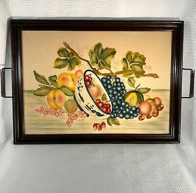 XL Antique Vtg WOOD 2-Handle SERVING TRAY w/Fruit Bowl THEOREM Folk Art PAINTING