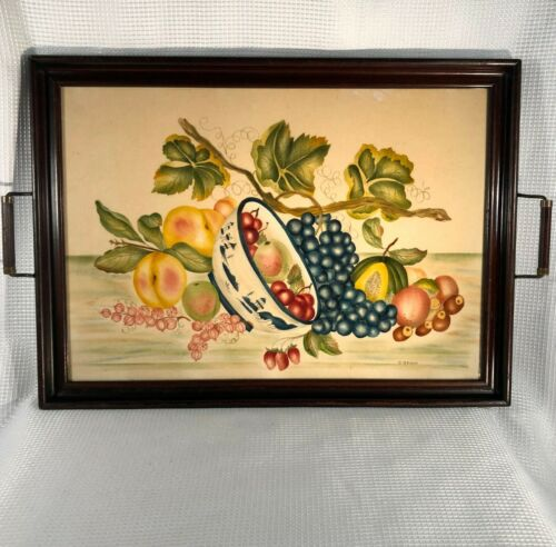XL Antique Vtg WOOD 2-Handle SERVING TRAY w/Fruit Bowl THEOREM Folk Art PAINTING
