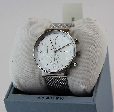 NEW AUTHENTIC SKAGEN ANCHER SILVER CHRONOGRAPH MESH MEN'S SKW6361 WATCH