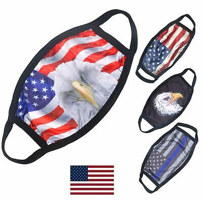 American Flag Bald Eagle Police Patriotic Reusable Protection Face Cover Mask Accessories