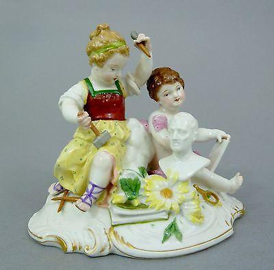 KPM Figurengruppe, Junge und Mädchen als Allegorie der Kunst, Figur um 1900