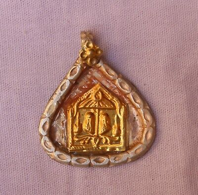 OLD TRIBAL SOUTH INDIAN GODDESS SILVER WITH GOLD PLATED AMULET PENDANT S 647