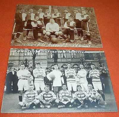 FC Askania Bernburg 1879 Saale I. Mannschaft Fußball Verein 2 AK`s 1909 + 1910