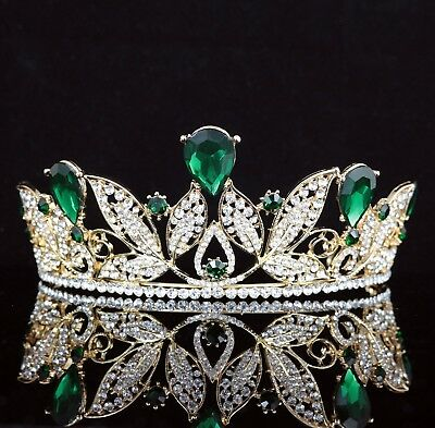 Leaves Green Austrian Rhinestone Crystal Tiara Crown Wedding Pageant Prom T67gn
