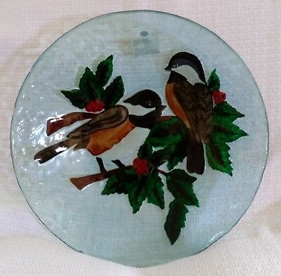 "Evergreen ~ 17½"" CRUSHED GLASS BIRD BATH BOWL ~ Two Chickadees and Holly"
