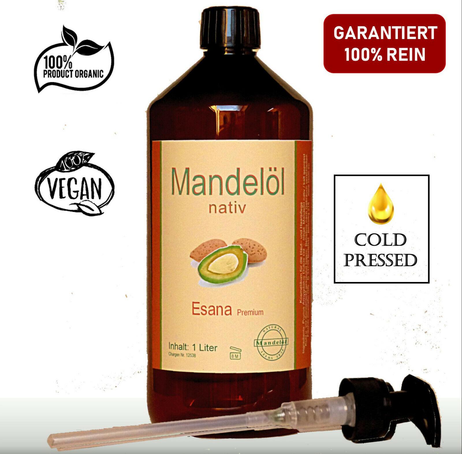 Mandelöl 1 Liter (1000ml) nativ/kaltgepresst Qualitätsprodukt inkl. Dosierpumpe