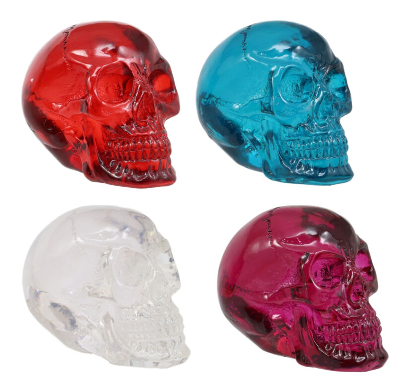 Red Purple Blue Clear Translucent Gazing Skull Miniature Figurine Acrylic Skulls