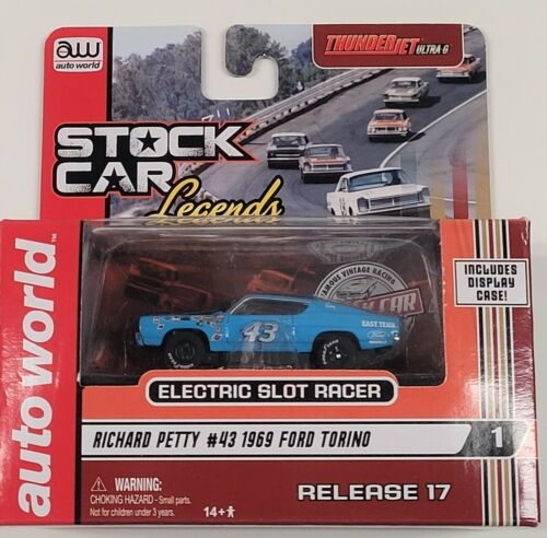 Auto World Richard Petty #43 1969 Ford Torino HO Scale Slot Car w/ T-jet Chassis