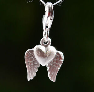 Sterling Silver 925 Heart with Angel Wings Clip on Charm