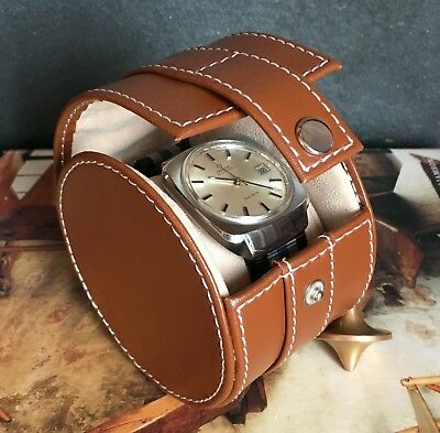 Genuine Leather Single Watch Case 1 Watch Round Box Travel Storage -