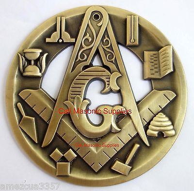 Master Mason Antique Gold Heavy Alloy Symbols Auto Tag Car Emblem Medallion Rear