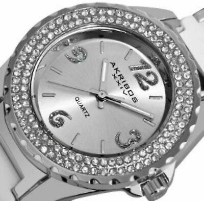 NEW Akribos XXIV AK514WT Womens Quartz Crystal Bezel White Ceramic Watch 33FT