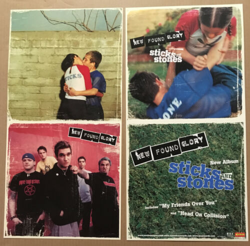 NEW FOUND GLORY Rare 2002 DOUBLE SIDED PROMO POSTER FLAT of Sticks CD MINT 12x24