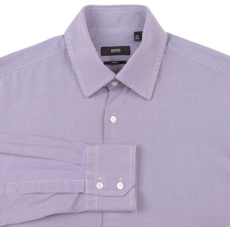 be0b964d8 Hugo Boss Blue White Ribbed Diagonal Twill Stripe TwoPly Cotton Dress Shirt  15.5