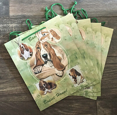 NEW Basset Hound Dog Breed Gift Bags Set Of 5 Puppy Rescue Christmas 9 x 11 x 4 ()