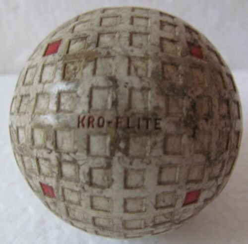 VINTAGE OLD SQUARE MESH GOLF BALL-THE SPALDING KRO-FLITE WITH MULTI-MARKING-NICE