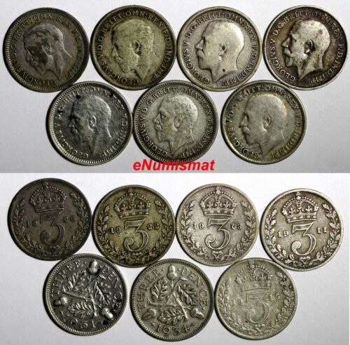 GREAT BRITAIN George V Silver LOT OF 7 COINS 1911-1934 3 Pence KM813 KM831