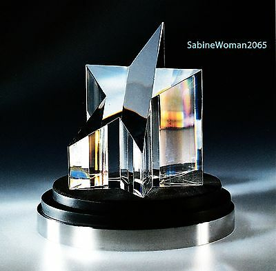 NEW in RED BOX STEUBEN glass STAR PRISM ornament paperweight with ORIGINAL STAND