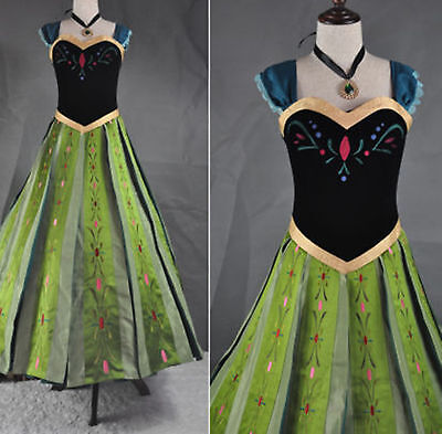 frozen Anna Princess Hand Embroidery Costume Cosplay Dress For Adult (Anna Frozen Costumes For Adults)