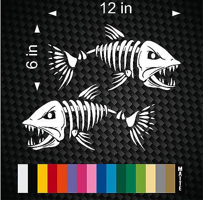 (2) Skeleton Fish Vinyl Decals for Boat Fishing graphics Bone Bones sticker - Fish Skeleton