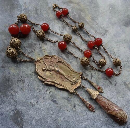 antique art nouveau Czech red glass flower bead lady pendant necklace -D177