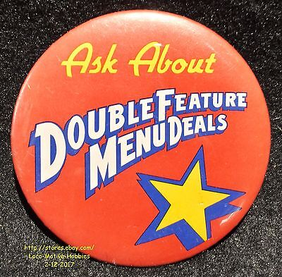 LMH PINBACK Button Pin  ARBY's Promo  DOUBLE FEATURE MENU DEALS  Ask About 1990