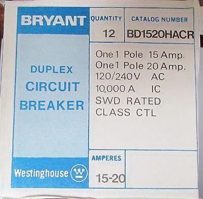 Westinghouse Bryant Bd1520hacr Duplex Single Pole 1520 Bd Brd Breaker Bd1520