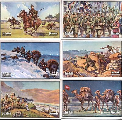 6 DIFF RARE ORIG MINT GERMAN WW1 CARDS w FuLLCoLoR BATTLE SCENES Warfare on Land