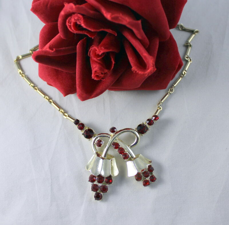 """Vintage Ruby Red Rhinestone Gold tone 16"""" Necklace  CAT RESCUE"""