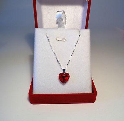 Silver Ruby Red Heart Necklace Pendant Swarovski Crystal, 925 18