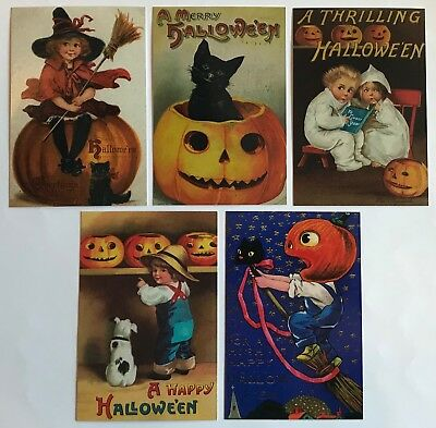 25 Halloween Postcards NEW Vintage Reproduction Lot 5 Designs Black Cat Witch  (Reproduction Vintage Halloween Postcards)
