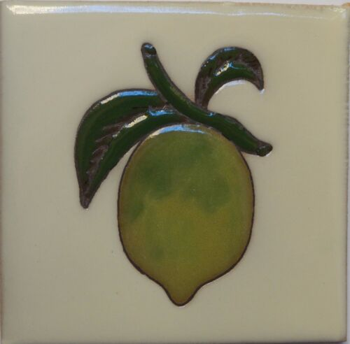 Mexican Tile Malibu Fruit Santa Barbara Tiles Cuerda Seca Lemon F-12